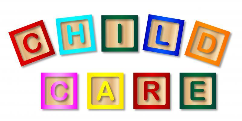 "Colourful letters spelling ""childcard""."