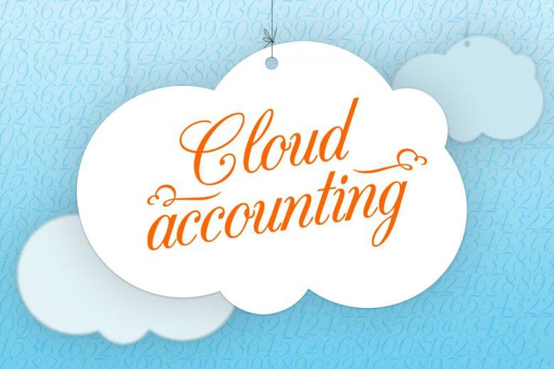 "The words ""Cloud accounting"" over a background of a cloud and texted sky pattern."