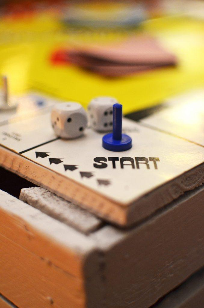 "Photo of a ""start"" square on a board game."